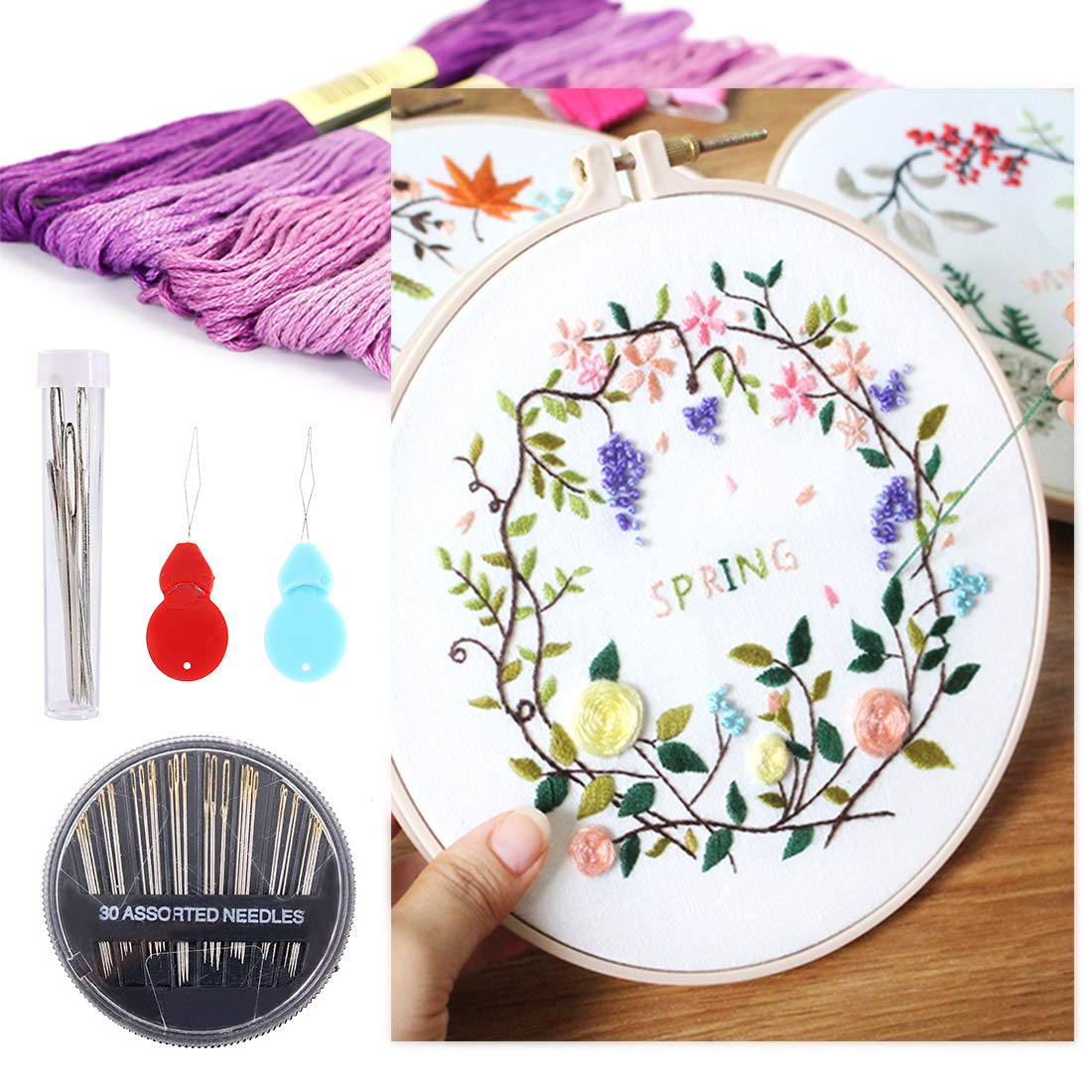 Colors Randomly Cross Stitch Threads Bracelets Floss Crafts Floss Hand Sewing Needle Threaders Set for Crafters Lovers Swpeet 104Pcs Premium Rainbow Color Embroidery Floss with Sewing Needles Kit