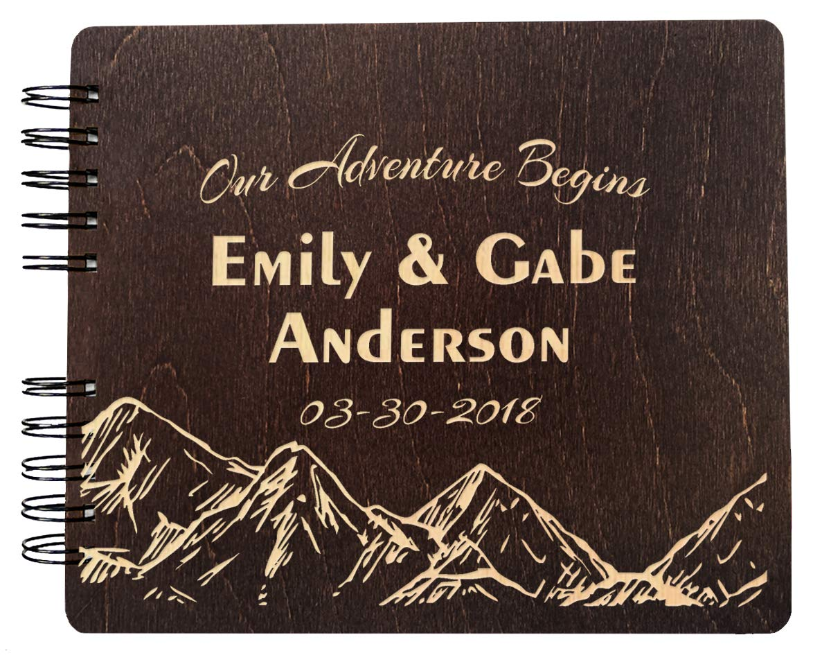 Polaroid Album Customize Engraved Our Adventure Begins Guest Book Wedding Sign in Rustic Bride Groom Registry Guestbook (11''x8.5'')