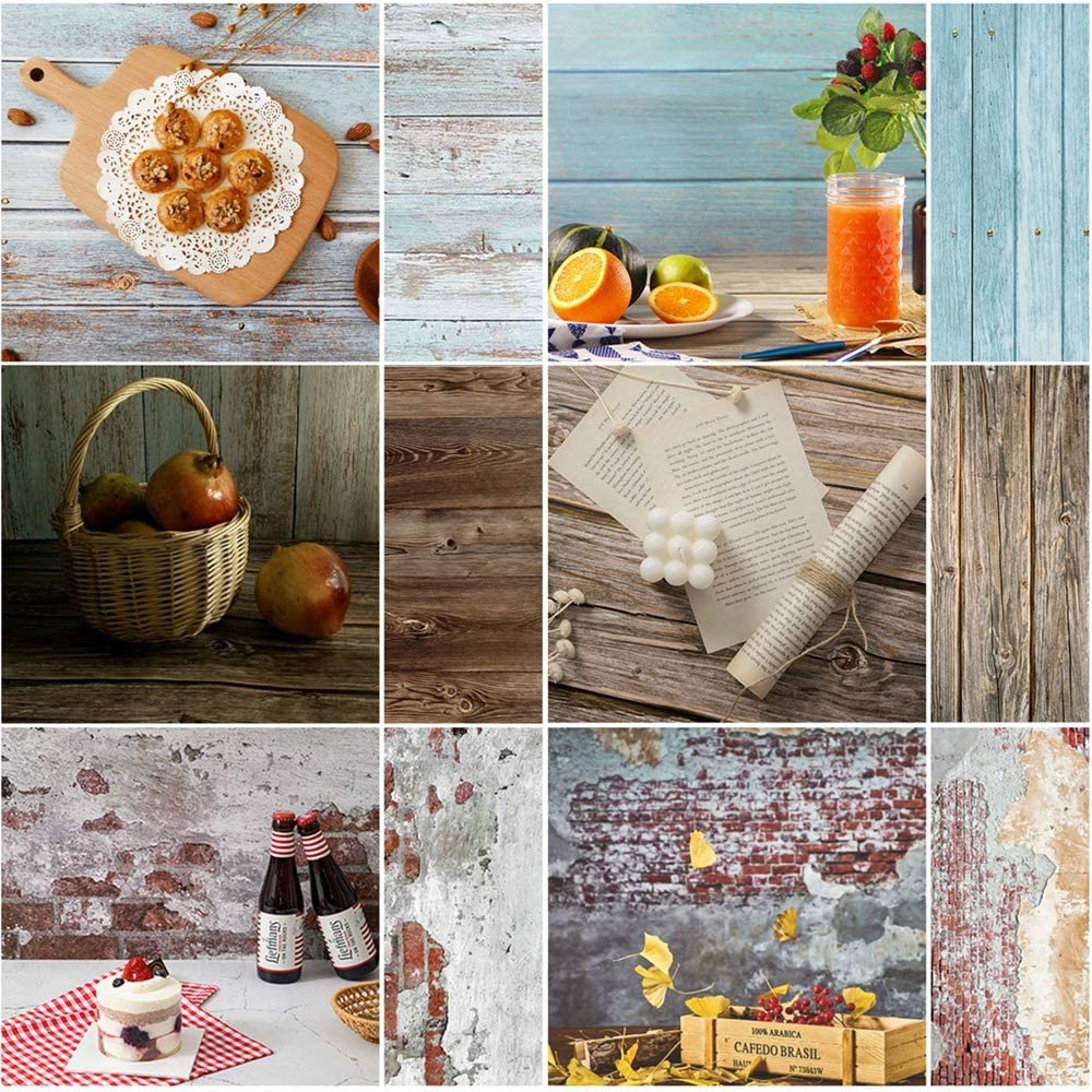 Meking 3 Sheet Double Sided Photo Backgrounds for Photography, Brick & Wood Texture Backdrop Paper for Foodies, Bloggers, Cosmetic Sellers, Online Stores Small Product & Food Shoot, 34x22in