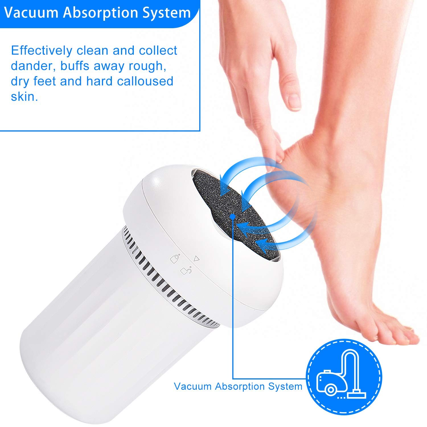 Electric Foot File, COSYONALL Callus Remover w/Built-in Vacuum Removes Dead Skin on Feet Heel Knee Elbow Hand, Efficient Callus Grinder 3 Speed 3 Buffing Pads, Pedicures Footcare Tool for Home Travel