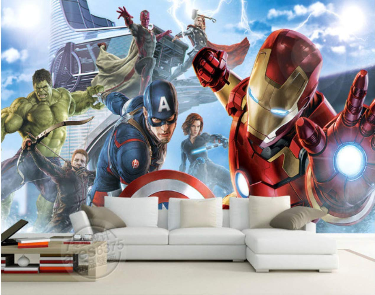 Avengers Boys Bedroom Photo Wallpaper Custom 3d Wall Murals Marvel Comics Wallpaper Childrens Room Interior Design Room D/écor Largeur 250cm Hauteur175cm un