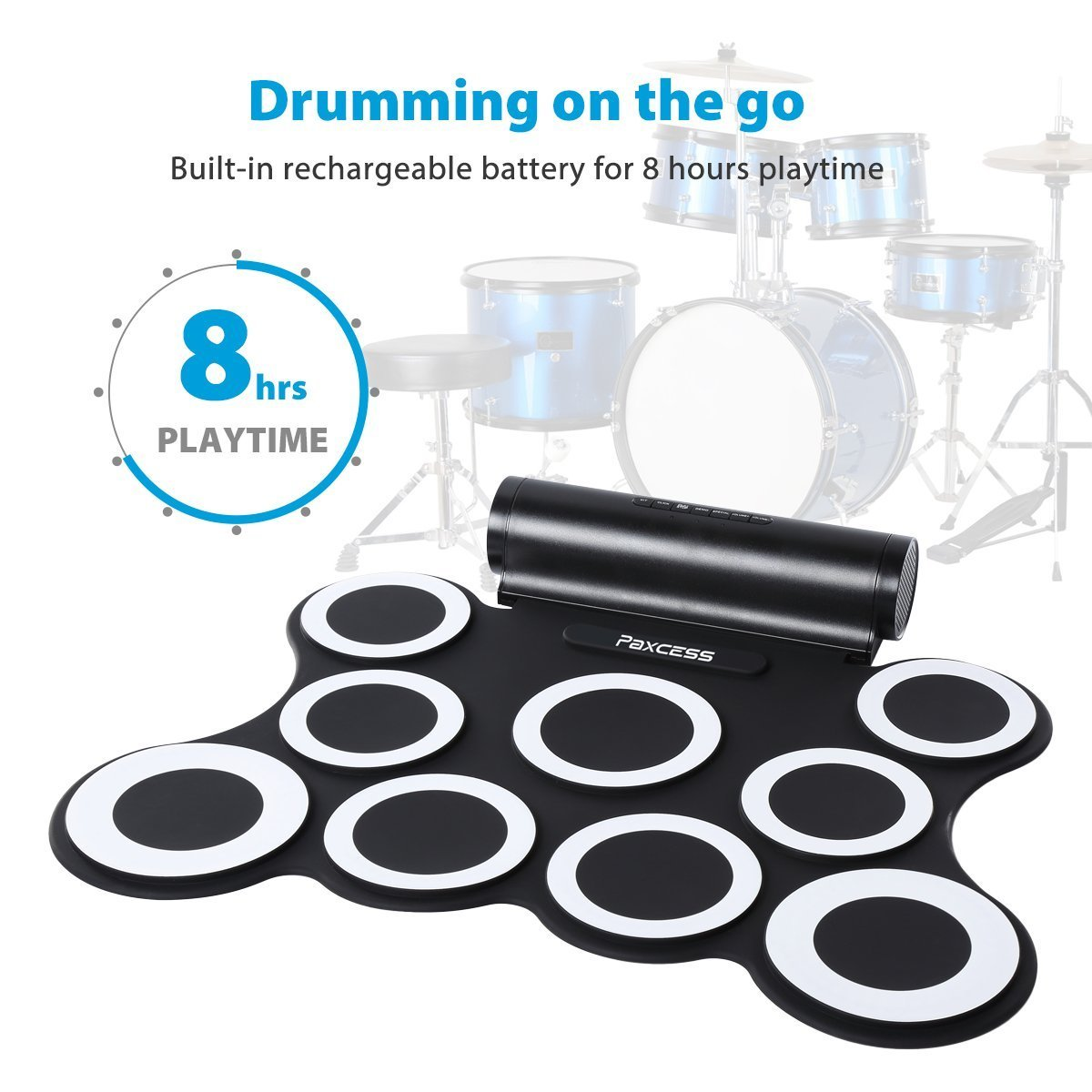 Paxcess Nine-Pad Foldable Electronic Drum Set