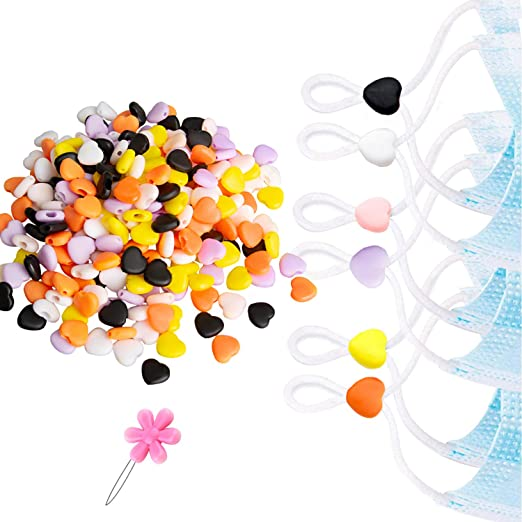 Lorvain 300 Pcs Cord Locks Silicone Toggles for Mask Drawstrings 300 Pcs, Black /& White Heart Elastic Cord Rope Band Adjuster Non-Slip Stopper Colorful Mask Adjustment Buckle Kids Children Mask Adjuster