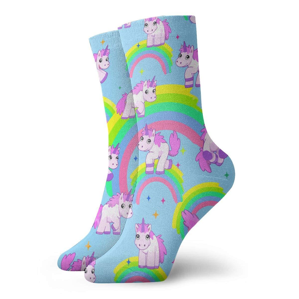 Unicorn-Rainbow Unisex Funny Casual Crew Socks Athletic Socks For Boys Girls Kids Teenagers