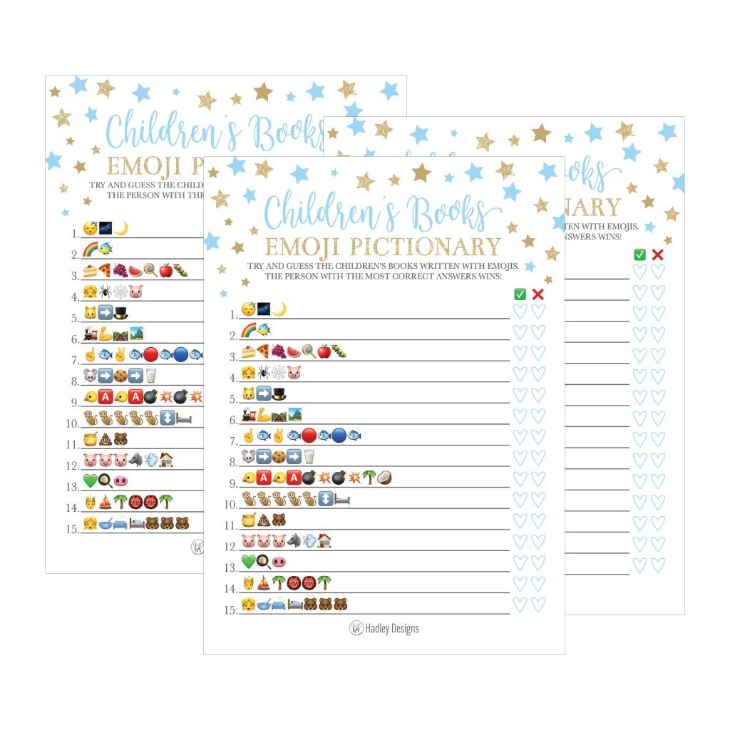Kids Men Gold Stars Gender Neutral Unisex Fun Coed Cards Women and Couples 25 Blue Emoji Childrens Books Pictionary Baby Shower Game Party Ideas For Quiz Boy Cute Classic Bundle Pack Set