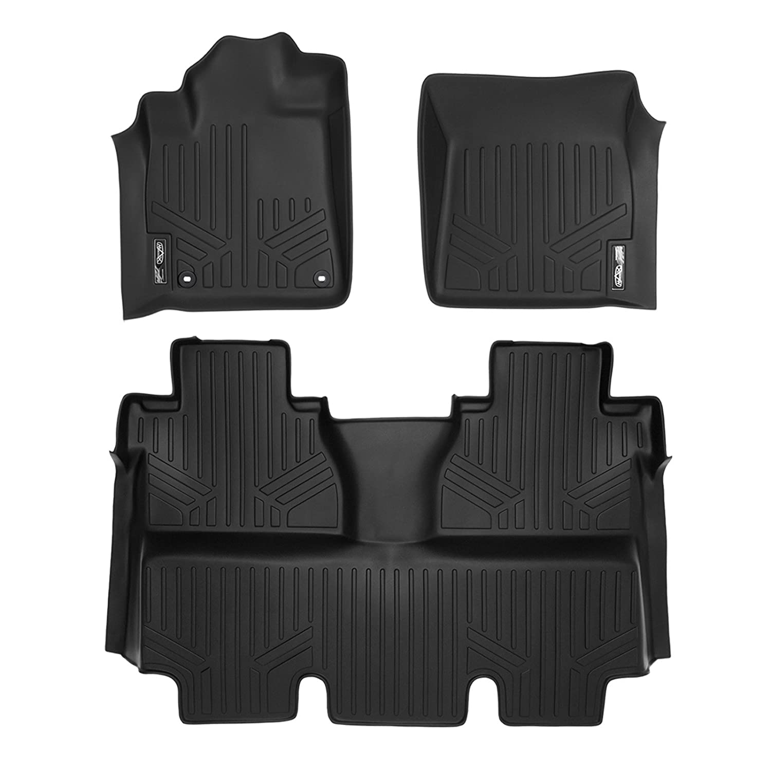 SMARTLINER Floor Mats 2 Row Liner Set Black for 2014-2018 Toyota Tundra CrewMax Cab (with Coverage Under 2nd Row Seat)