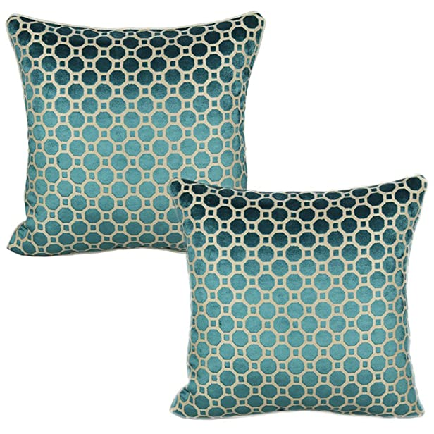 All Smiles Couch Teal Dot Velvet Throw Pillow Case Soft Cushion Covers 17x17in Decorative for Sofa Decor ,Turquoise Geometric Square,Set of 2