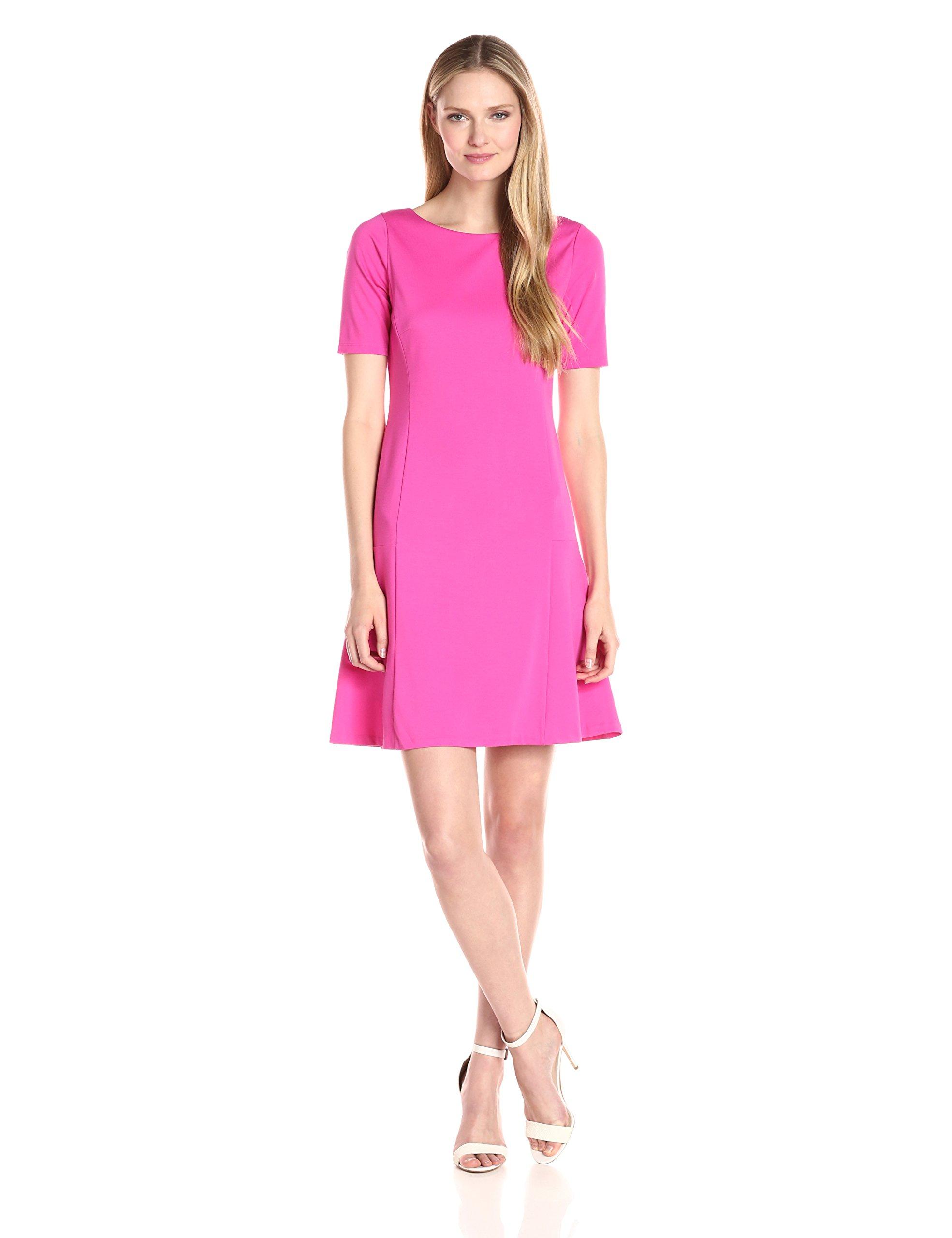 Ellen Tracy Women's Elbow Sleeve Flounce Dress, Pink Tulip, L by Ellen Tracy