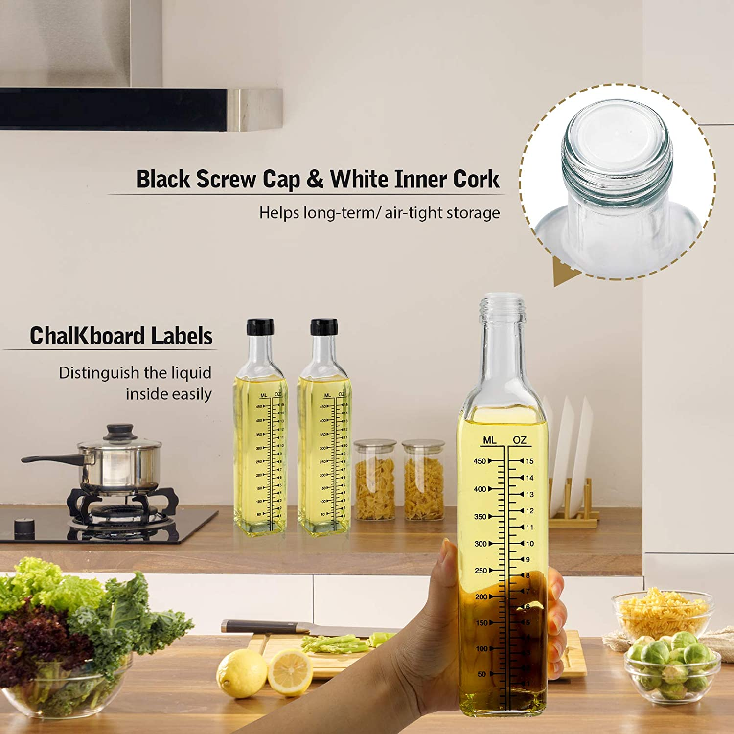 Kitchen Cooking Oil and Vinegar Cruet with Stainless Steel Pouring Spouts 3 Pack 17oz 500ml Glass Olive Oil Dispenser Bottles