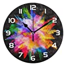 Dozili Watercolor Abstract Rainbow Decorative Wooden Round Wall Clock Arabic Numerals Design Non Ticking Wall Clock Large for Bedrooms, Living Room, Bathroom