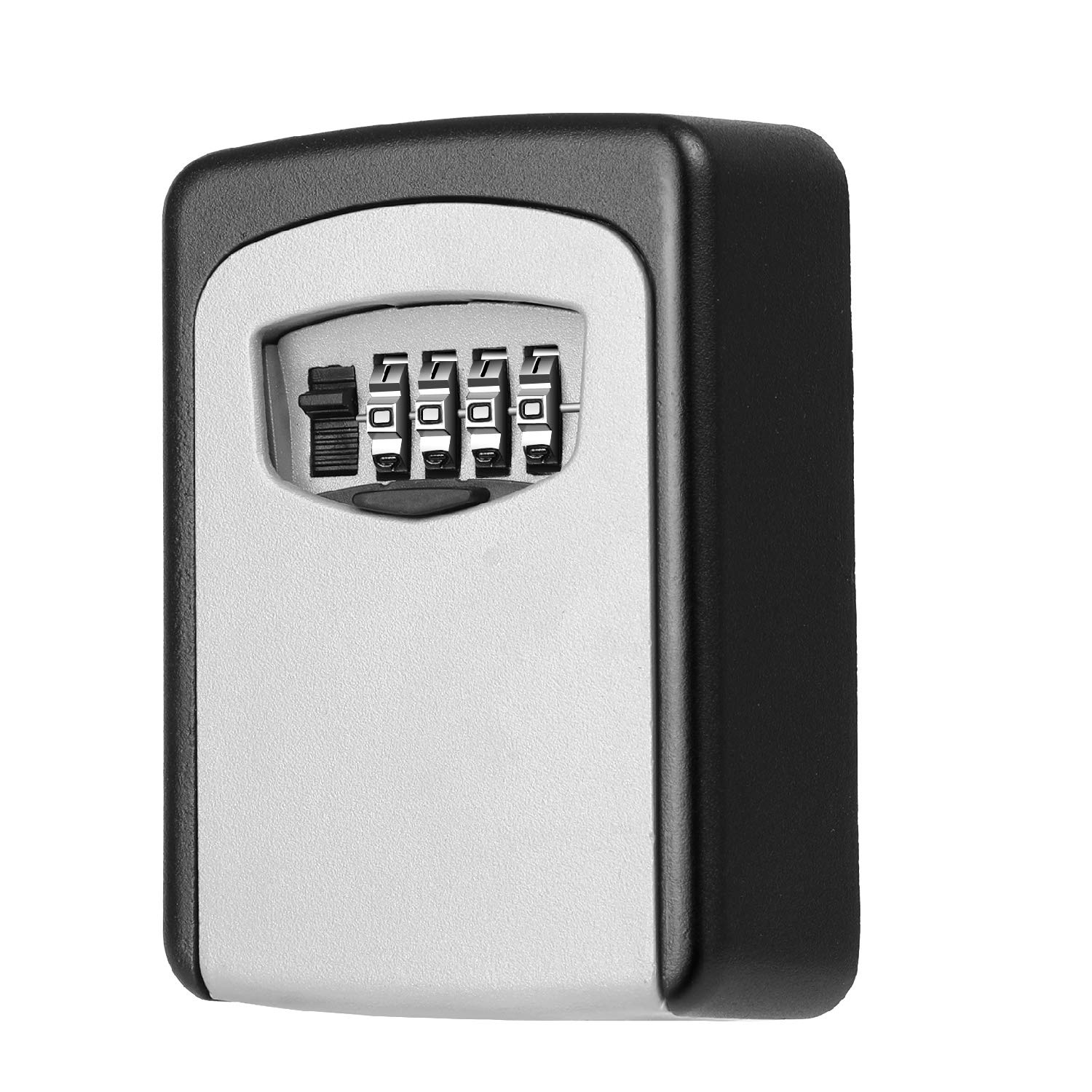 Flexzion Key Lock Box - Key Storage Safe Box Wall Mounted 4 Digit Combination Lock, Security Key Holder/Code Storage Case/Cipher Lock Box for House Indoors or Outdoors Weather Rust Resistant