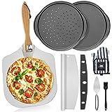 "7PCS Foldable Pizza Peel Pizza Pan Set,12"" x 14"" Aluminum Metal Pizza Paddle with Wooden Handle, Rocker Cutter, Server Set, B"