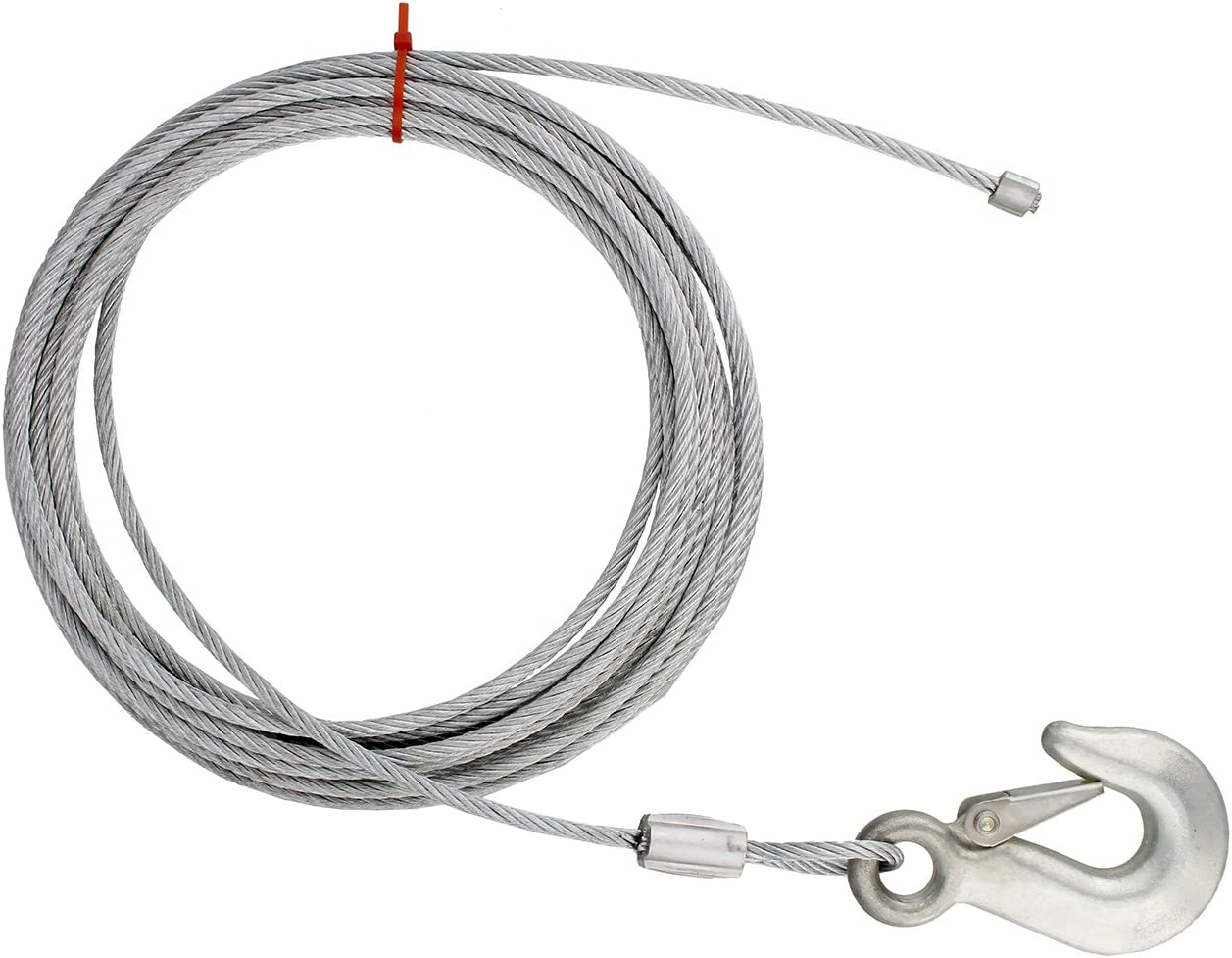 ABN Cargo Tow Trailer Tie Down Strap Cable with Hook and Winch Mount 25ft x 3//16in ATV UTV Boat Tiedown