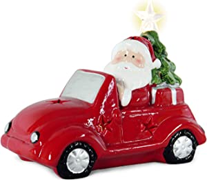 Clearance! Sunlit Merry Christmas Outlet Mantel Decor Santa Claus on Red Car Ornaments Decorations with LED Lights and Batteries 7.5 inches Small Traditional Home Decors
