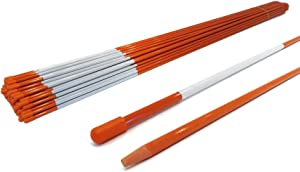 Autoparts Orange Reflective Driveway Markers Snow Stakes 48 Inches Long 1/4-Inch Dia Markers Pack of 25/50/100/200 (25pcs)