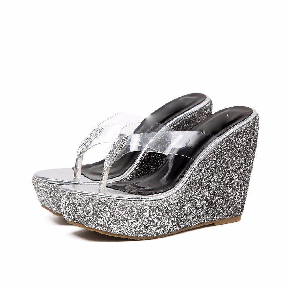 GTVERNH-Sommer Silberpailletten Einzelne Transparente Schuhe Transparente Einzelne Hang Mit Coolen Hausschuhe Weibliche Wasserdicht Plattform Dicken Boden Heels Strände 88225b