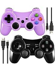 Kabelloser Controller für PS3, mit Vibrationsfunktion, mit Ladekabel, Schwarz / Violett