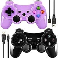Doppio con vibrazione controller wireless per PS3con cavo di ricarica (nero + viola)