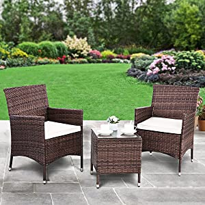 Polar Aurora 3pcs Patio Bistro Set Outdoor Armchairs PE Rattan Wicker Furniture 3 Piece Conversation Set Garden Table and Chairs with Washable Cushions