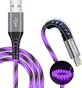 6 foot iPhone Charger Tomoson MFi Certified Long iPhone Charger Cord LED USB to Lightning Cable Light Up iPad Charger Cord Fast Charging for iPhone 12 11 Pro Max 10 XR XS Max 8 7 SE 2020 iPad (Purple)