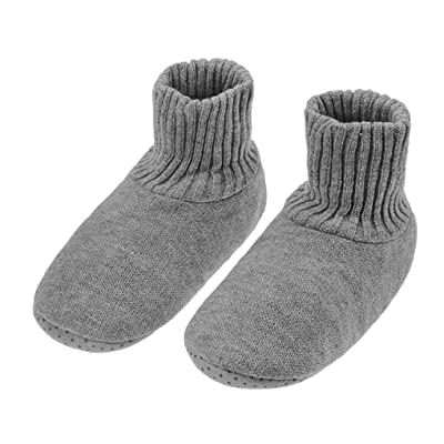Winter Warm Indoor Slipper Socks for Women Men Fleece Lined Cable Knit Ankle Boots Non-skid Bedroom Bootie Shoes: Clothing