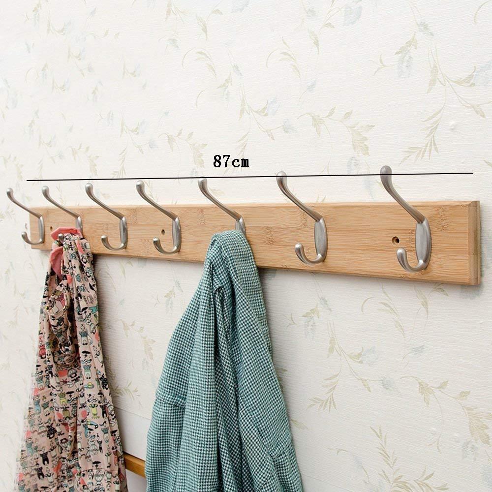 7 hooks Log color DYR Solid Wood Coat Hooks Hook Up White Logs color 3 Hooks 4 Hooks 5 Hooks 6 Hooks 7 Hooks 8 Hooks Stable and Durable (color  color Log, Size  7 Hooks)