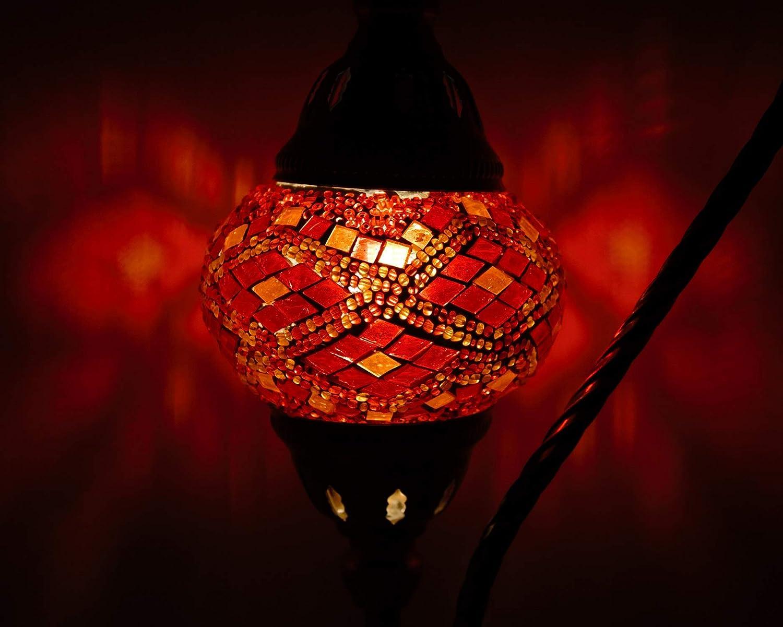 L/ámpara Turca de Mesilla de Noche Vintage para Dormitorio Mosaico Swan Neck Multicolor Base Bronze