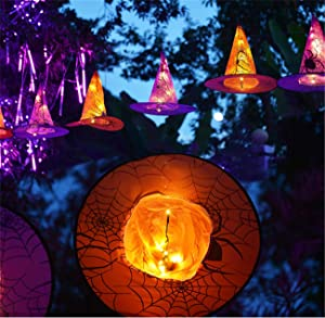 ZPING Halloween Decorations 8 Pcs Lighted Hanging Witch Hats, 14ft 56 LEDs Halloween Indoor Outdoor Remote Control String Lights, Battery Powered with 8 Lighting Modes for Garden, Yard, Tree