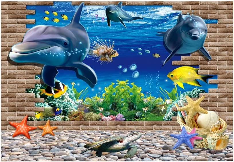 Amazon Com Oyunngs Aquarium Background Picture For Fish Tank 3d Effect Ocean Scenery Poster Underwater Wall Decal Decoration Pvc Adhesive Sticker 12241 Pet Supplies