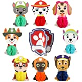 TICIAGA 9pcs Paw Dog Patrol Honeycomb Centerpieces Table Topper for Birthday Party Decoration, Double Sided Cake Topper, Photo Booth Props, Kid or Dog Party Favor Supplies Mix of Rubble, Skye, Shield