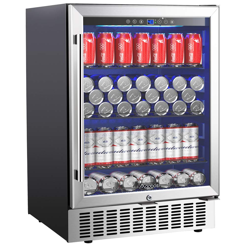 Aobosi 24'' Beverage Cooler 164 Cans Freestanding and Built-in Beverage Refrigerator with Advanced Cooling System, Tempered Glass Door, Quiet Operation, Energy Saving | Ideal for Soda, Water, Beer,Wine