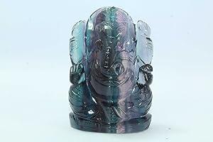 Rajasthan Gems Natural Fluorite Stone God Ganesha Ganesh Home Decorative Statue Idol 2.0' Tall
