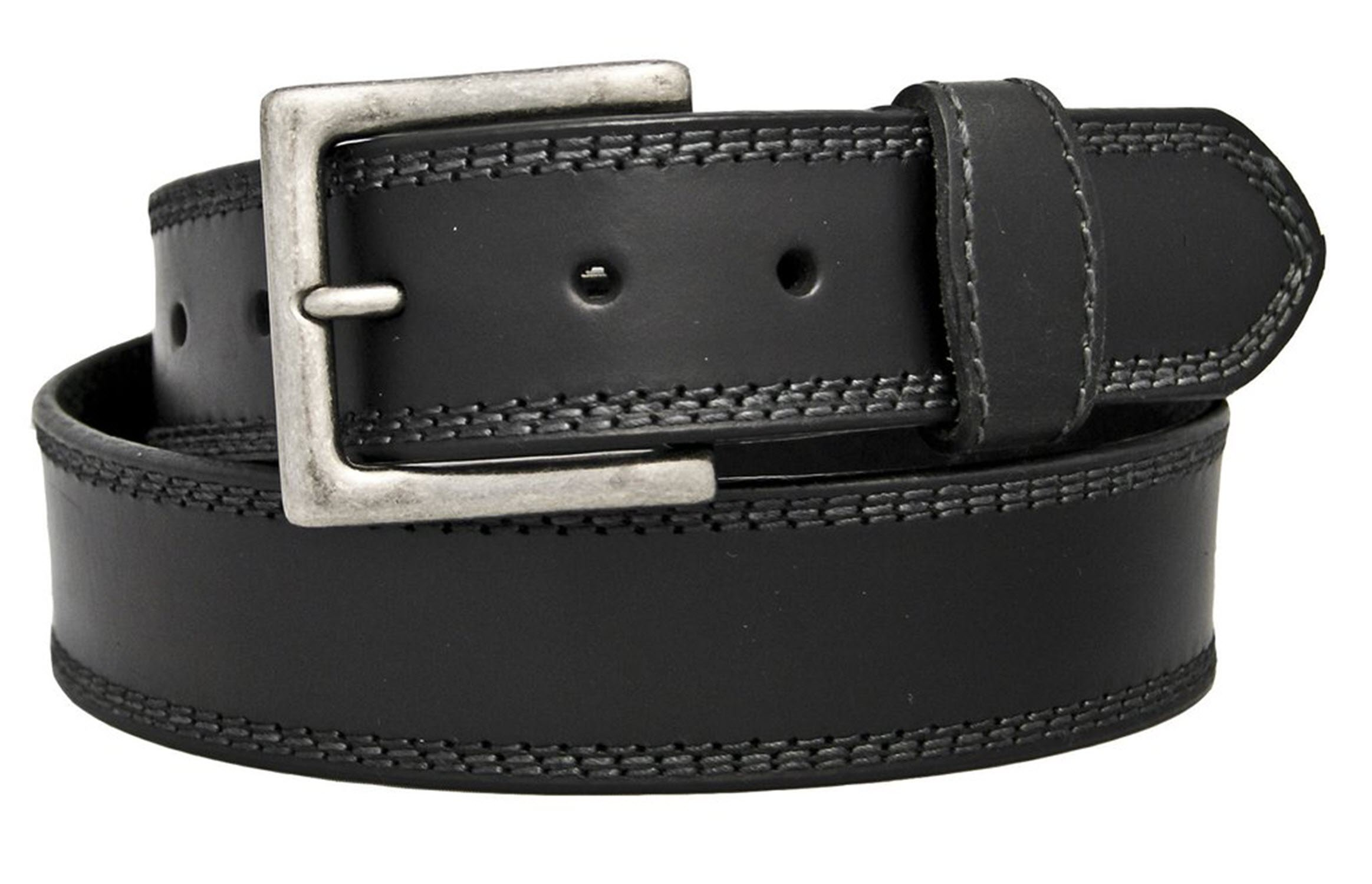 Silver Canyon Men's 1 1/2'' Triple Stitched Oil Tanned Leather Black Belt