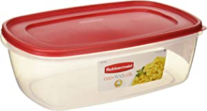 Rubbermaid 711717439723 Plastic Easy Find Food Storage Container, BPA-Free, 40 Cup / 2.5 Gallon, Pack of 2, 2, Clear With Red Lid
