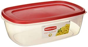 Rubbermaid 6640210 711717439723 Plastic Easy Find Lid Food Storage Container, BPA-Free, 40 Cup / 2.5 Gallon, Pack of 2, 2, Clear with Red