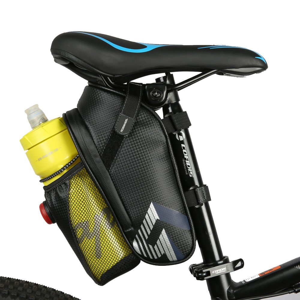 WOTOW Bike Seat Saddle Bag, Roomy Strap-on Bicycle Seat Bag Pack with Extra Net Pouch Reflective Stripe and Taillight Hook for Outdoor Cycling (Black-New)