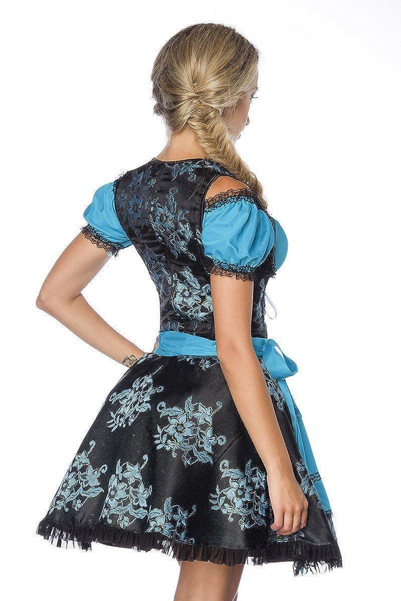 Gr/ö/ße:38;Farbe:blau Kleid, Sch/ürze /& Bluse in 5 Varianten A70000 Mini-Dirndl Trachtenkleid aus Jacquard DIRNDLINE 3-tlg