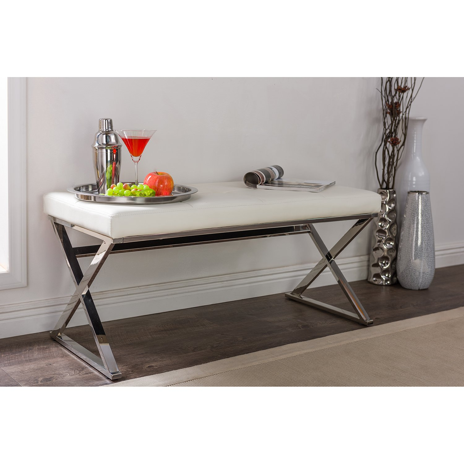 Baxton Studio Wholesale Interiors Herald Modern and Contemporary Faux Leather Upholstered Rectangle Bench, Stainless Steel and White