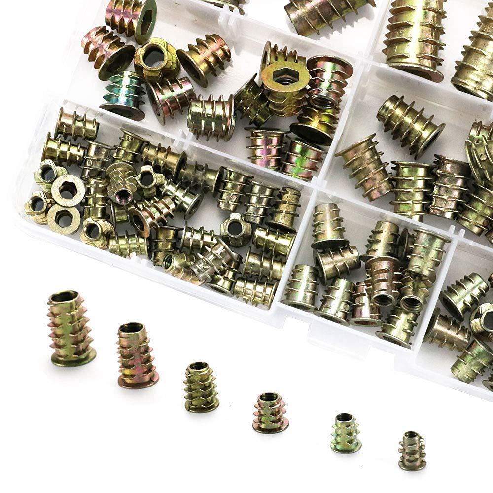 Canitu 100Pcs Threaded Inserts for Wood Furniture Hex Screws Nuts Hardware Kit M4 M5 M6 M8 M10 Assortment Set