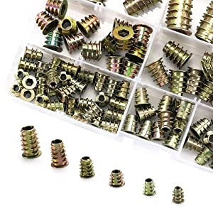 Canitu 100Pcs Threaded Inserts for Wood Furniture Hex Screws Nuts Hardware Kit M4 M5 M6 M8 M10 Assortment Set