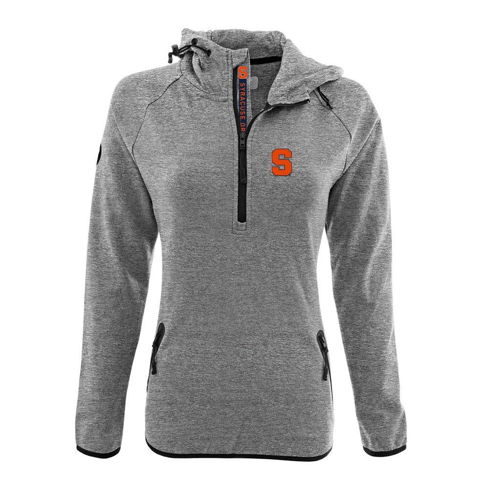 NCAA Women 's Faint Insignia太字Quarter Zipミッドレイヤーシャツ B074QT5JTQ Large|Heather Pebble|Syracuse Orange Heather Pebble Large