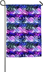 Triple Goddess Moons and Stars Single-Sided Family Garden Flag Banner for Yard Home 12 X 18 Inch,18 X 27 Inch