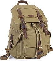 Mens Canvas Backpack Outdoor Hiking Travel Rucksack Laptop Camping School Bag