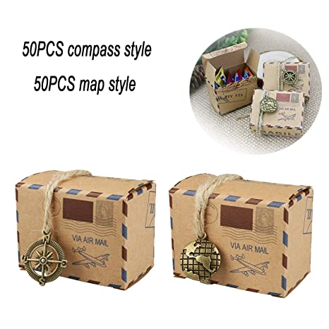 100 PCS Candy Gift Boxes Bestga DIY Kraft Retro Post Mail Style Wedding Party