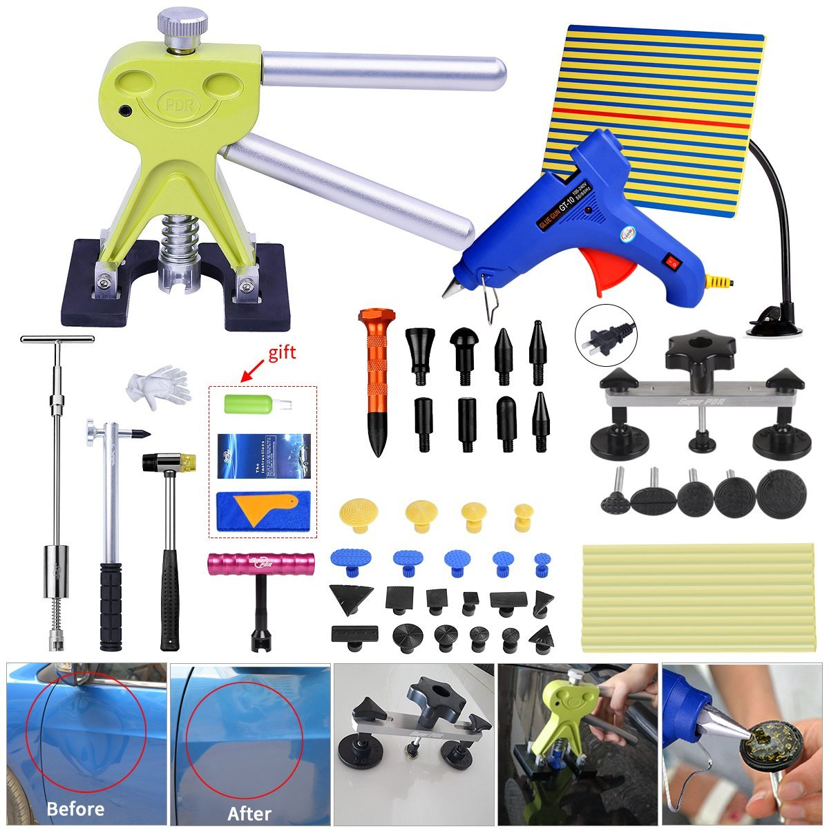 Fly5D Paintless Car Dent Removal Kit Puller Pull up 56pcs Set