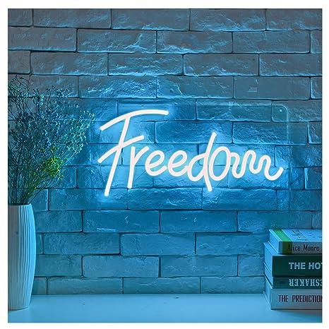 Freedom LED Neon Sign Lights Art Wall Decorative Lights (Ice Blue)