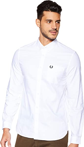 Fred Perry Hombres Camisa Oxford Classic Blanco