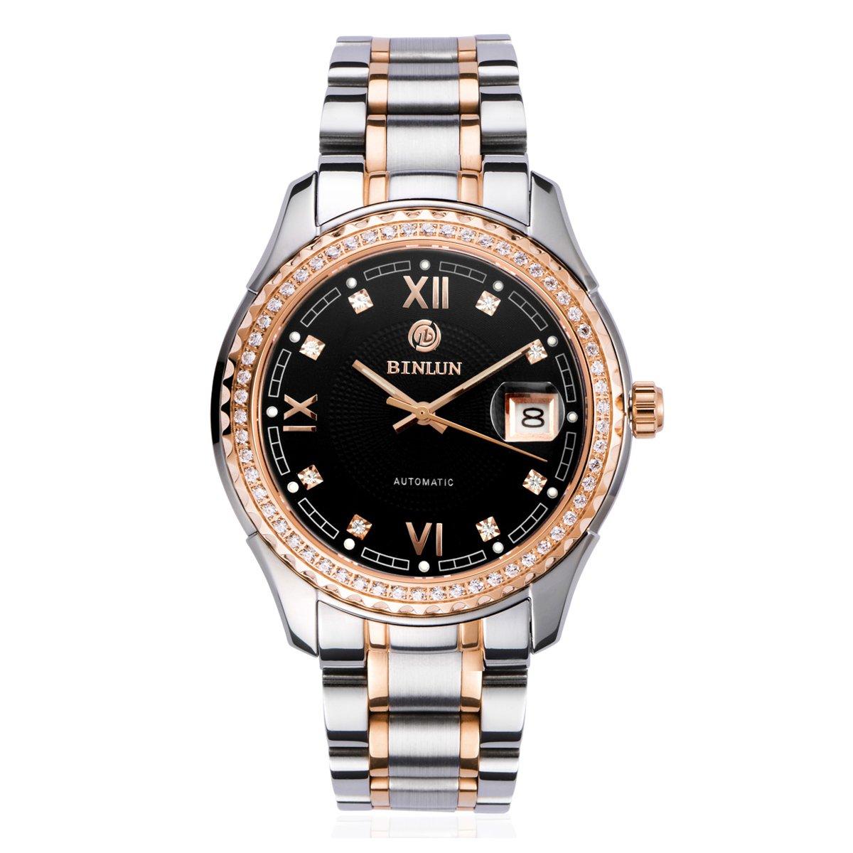Binlun Hombres de Confianza de Cristal Resistente Bisel japonés mecánico Negro dial Acero Inoxidable Reloj Casual: Amazon.es: Relojes