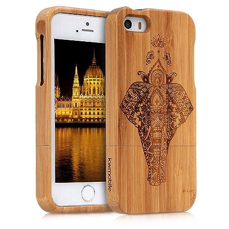 kwmobile Funda para Apple iPhone SE / 5 / 5S - Carcasa Protectora de [bambú] para móvil - Case [Duro] con diseño de Elefante artístico