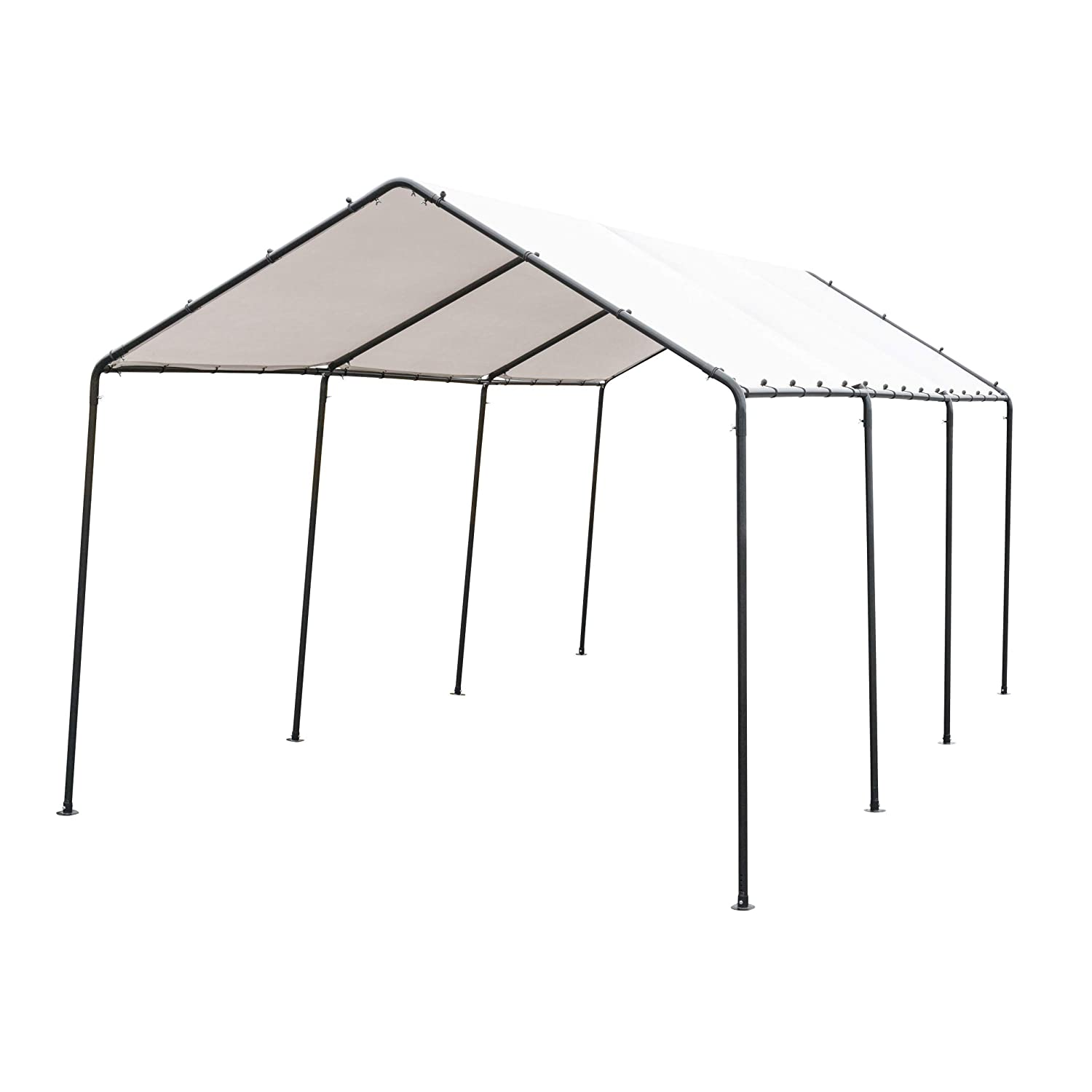 SORARA Carport 10' x 20' Outdoor Car Canopy Gazebo with 8 Steel Legs, White